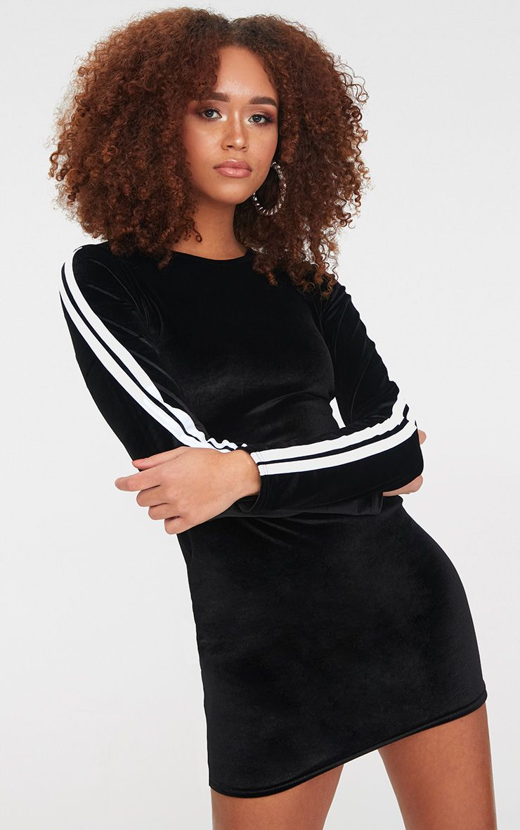 Black Velvet Contrast Sleeve Stripe Bodycon Dress