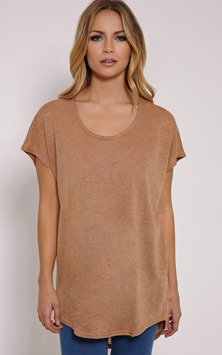 Latilda Camel Woven Slub T-Shirt 1