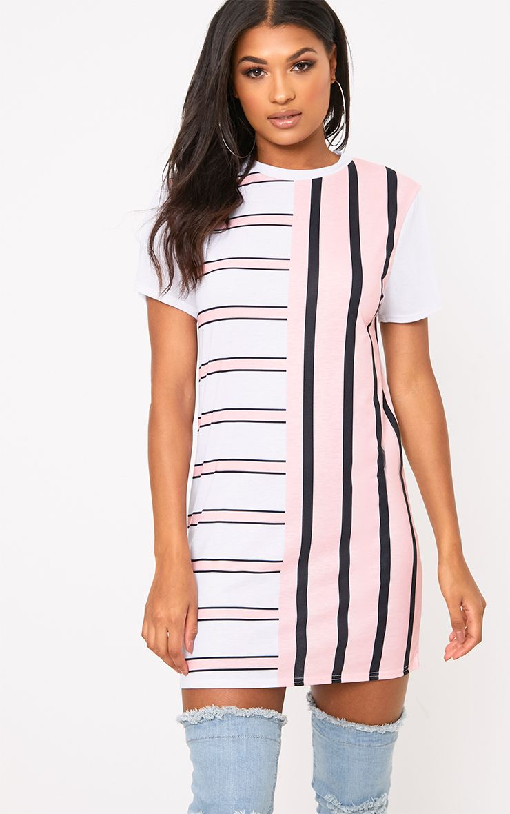 Pink Contrast Stripe T Shirt Dress