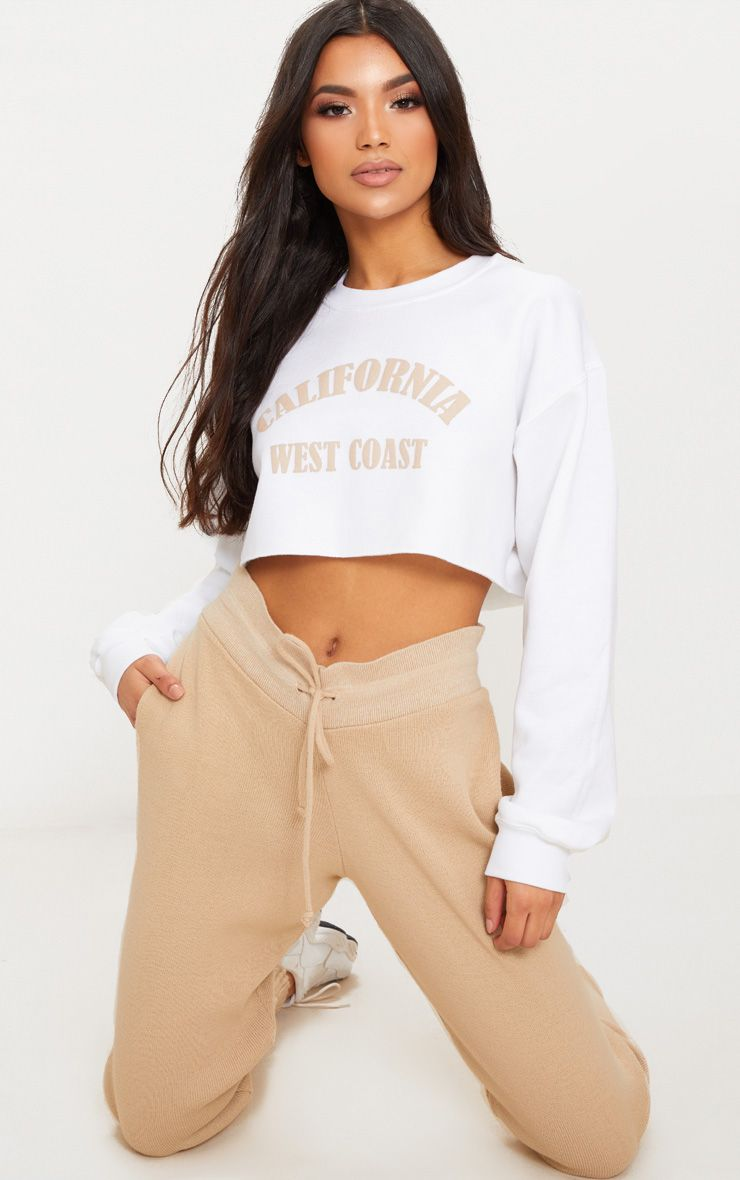 White California Slogan Crop Sweater