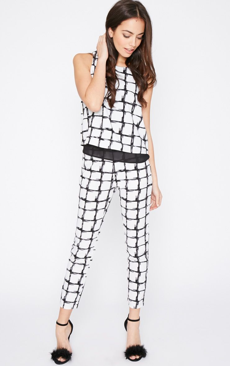 Catori White Checked Cigarette Trouser 1