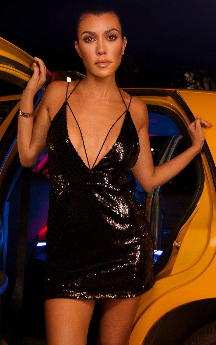 Black Strap Detail Sequin Bodycon Dress