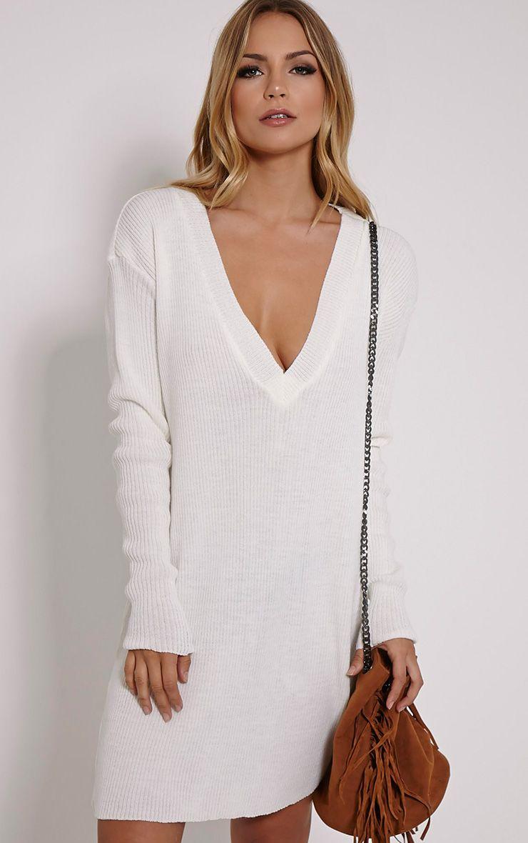 Nashton Cream V Neck Ribbed Jumper Dress 1