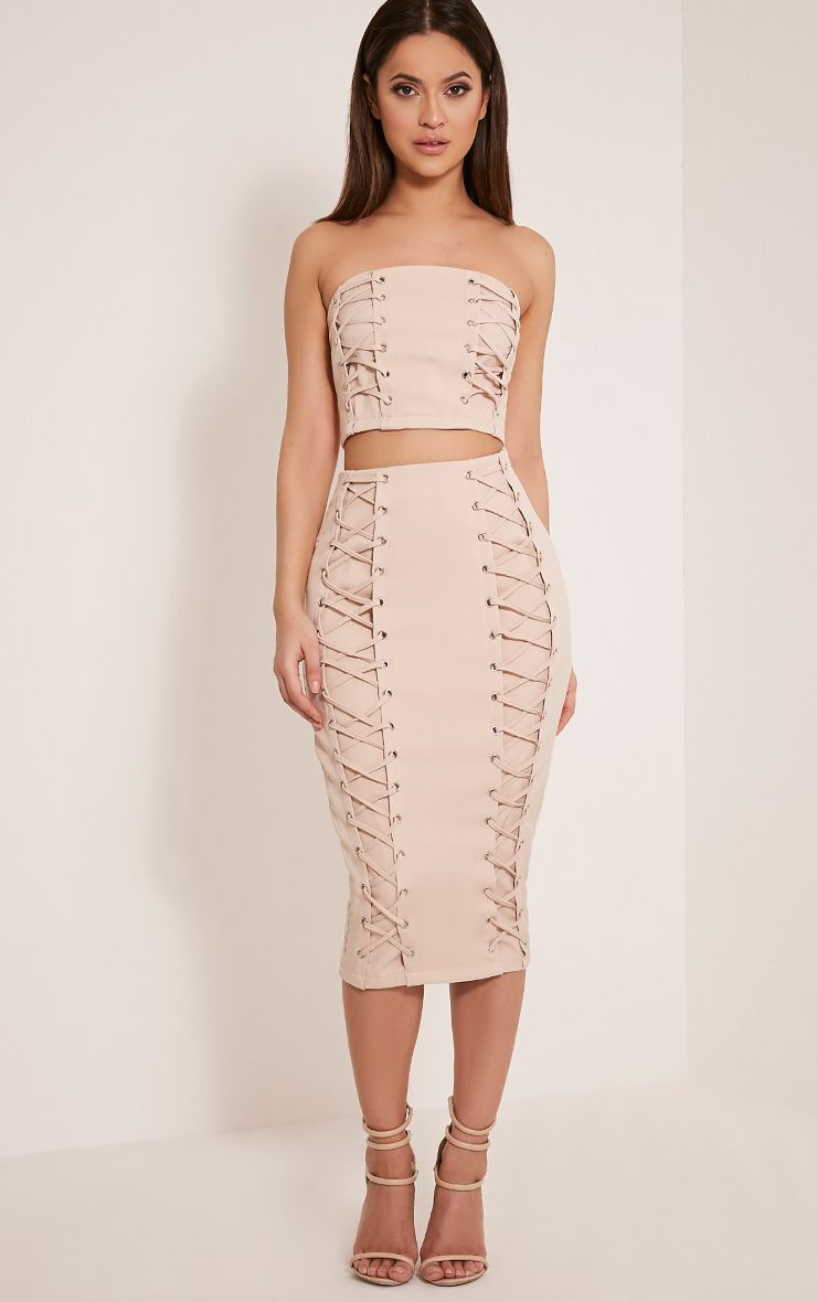 Haley Nude Lace Up Midi Skirt 1