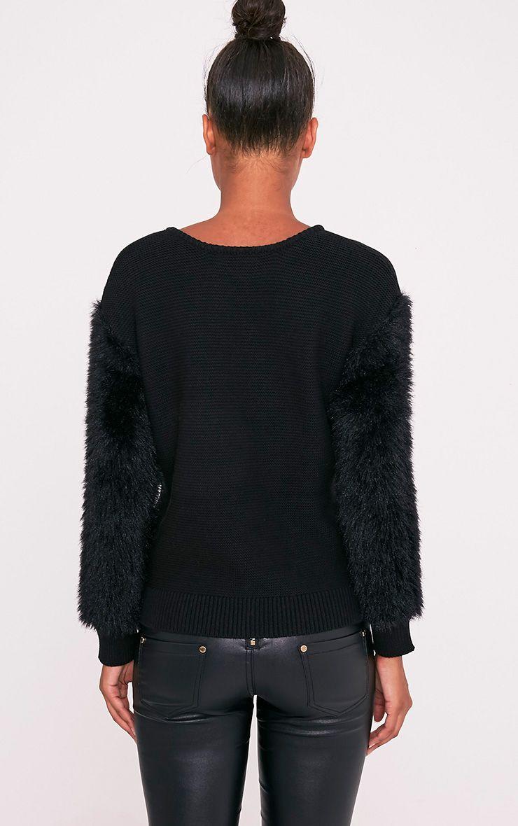 Rene pull tricoté fin à manches duveteuses noir 2