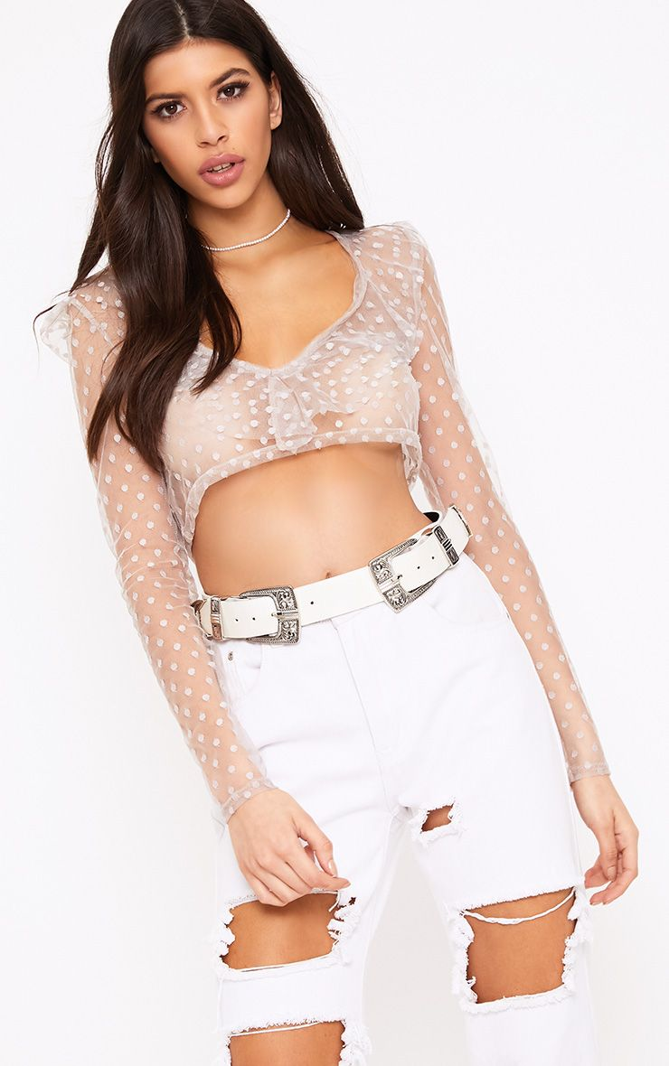 Adura Nude Dobby Mesh Frill Plunge Crop Top