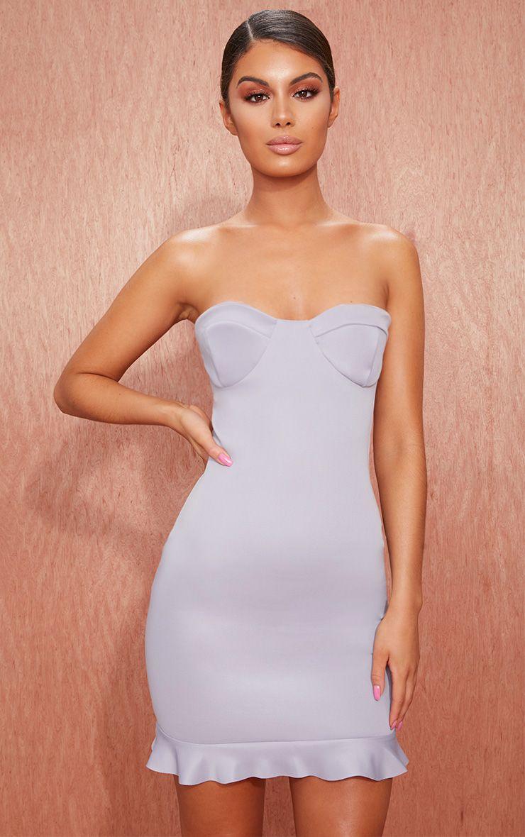 Grey Cup Detail Frill Hem Bandeau Bodycon Dress
