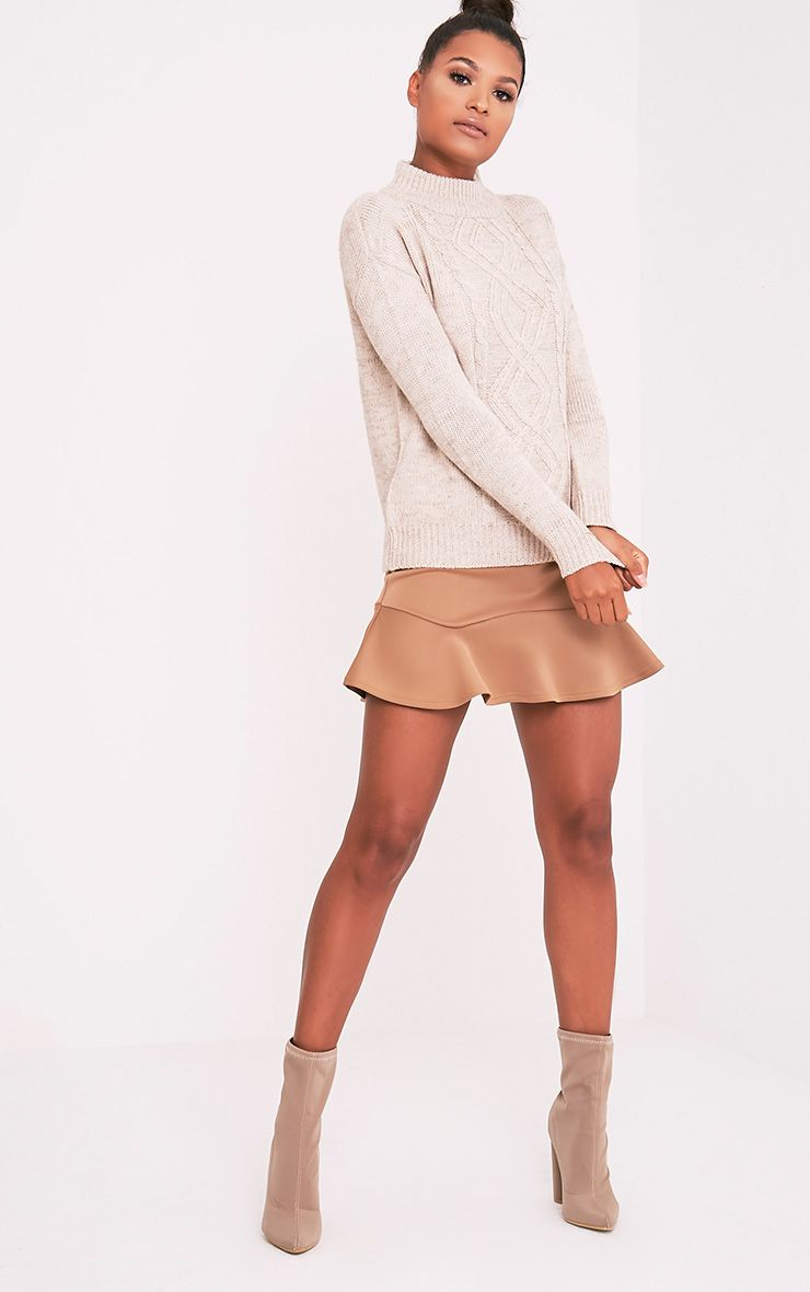 Jodeanne Taupe Cable Knit Detail Turtle Neck Jumper 1
