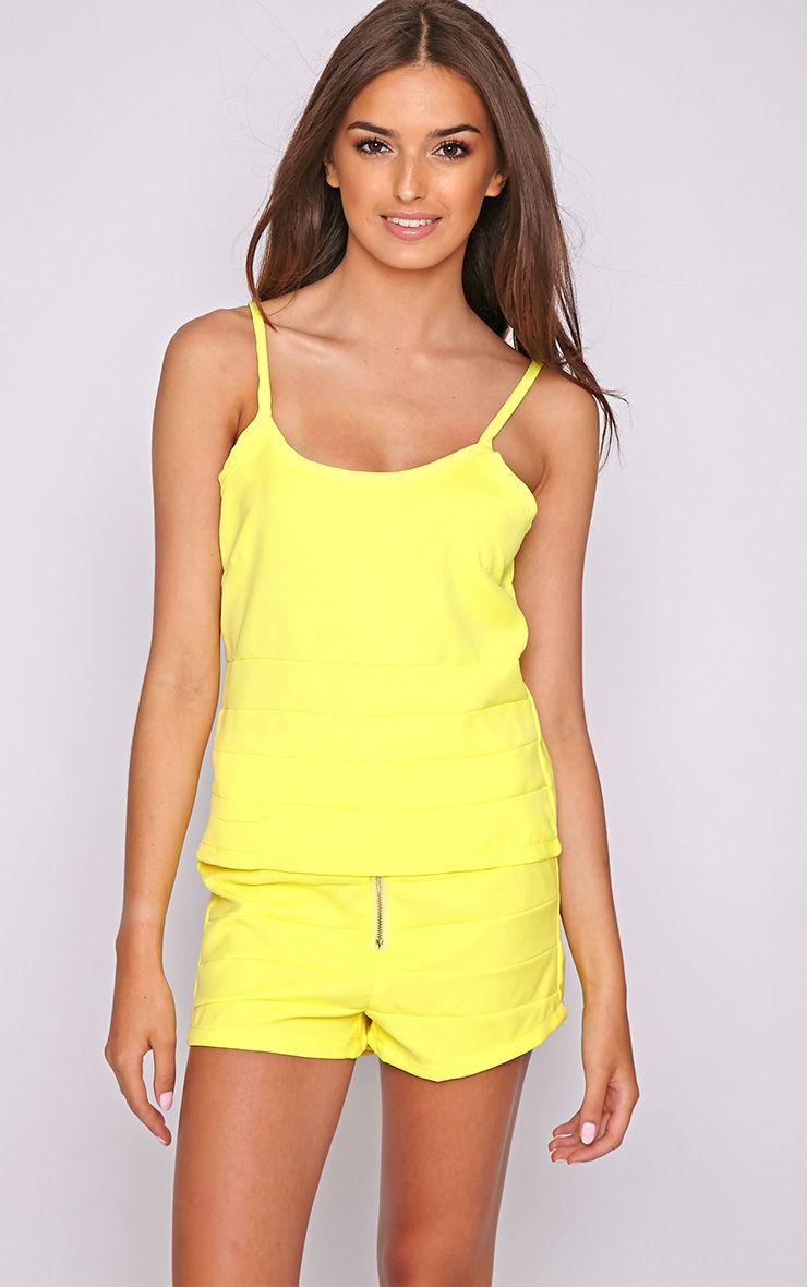 Kiana Yellow Striped Zip Front Short 1