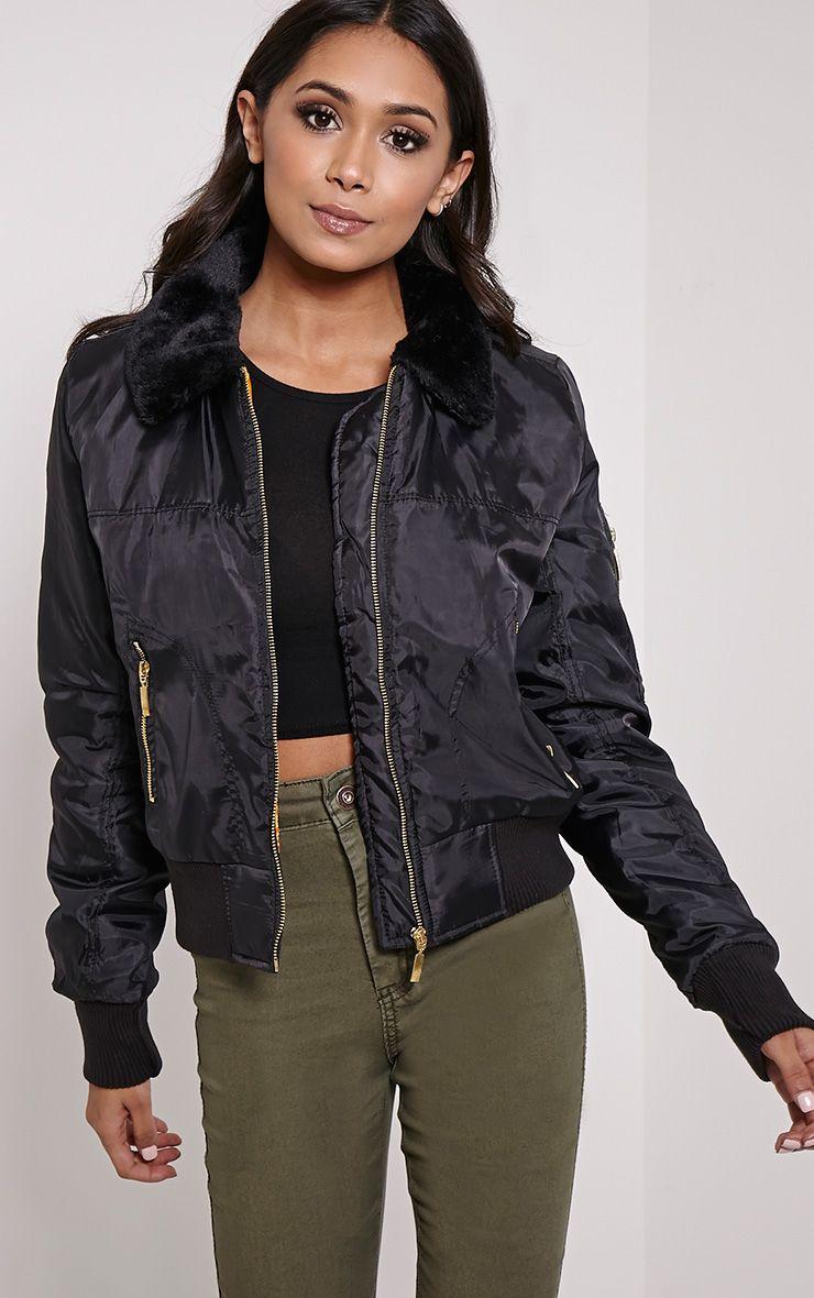 Ravi Black Faux Fur Collar Bomber Jacket 1