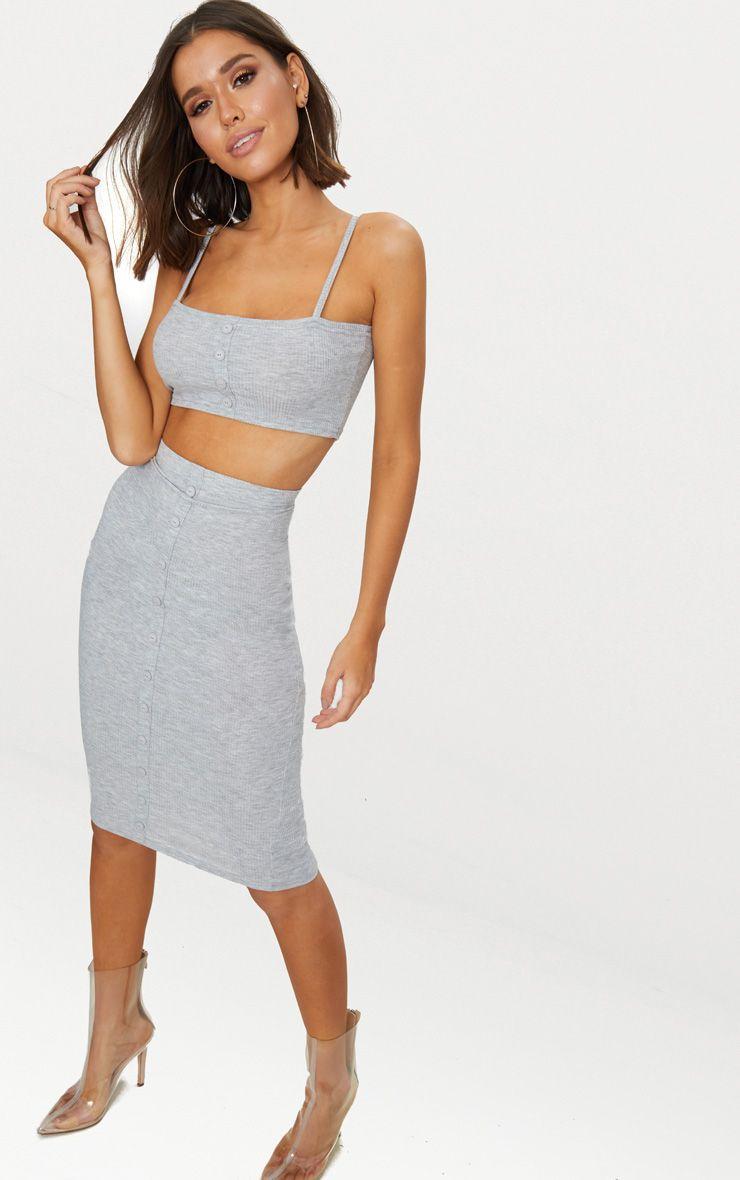 Grey Marl Rib Button Detail Midi Skirt
