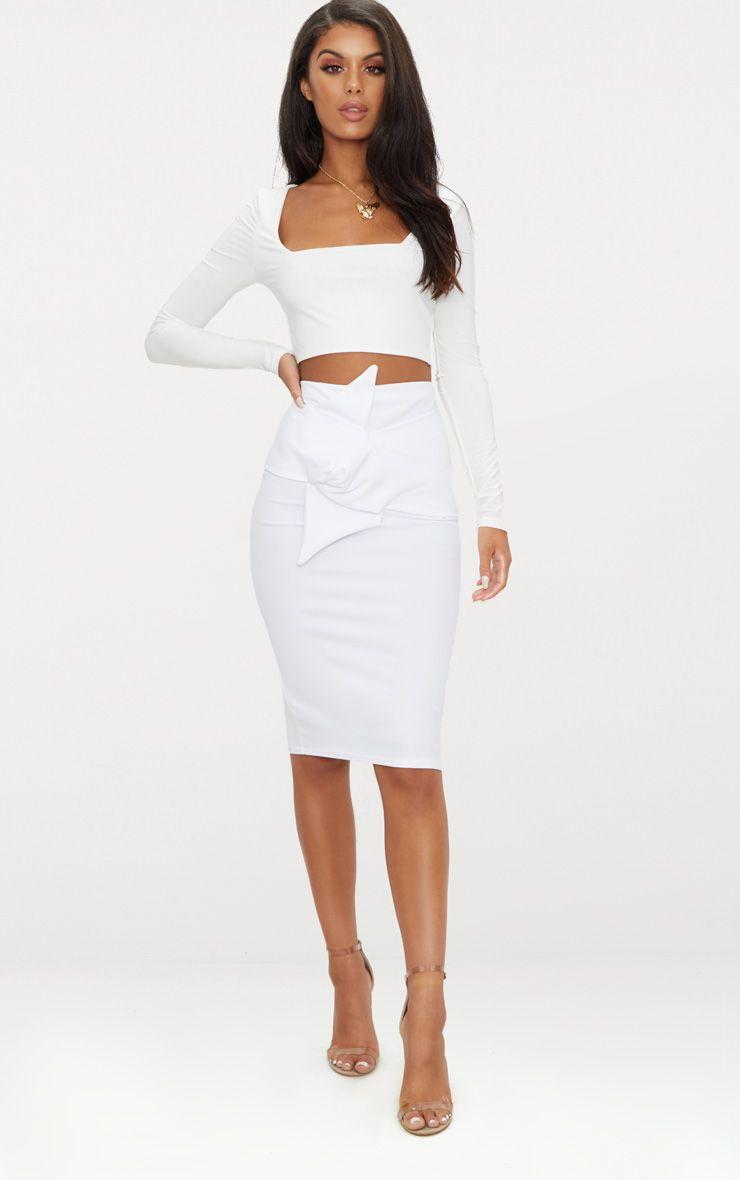 White Knot Detail Midi Skirt