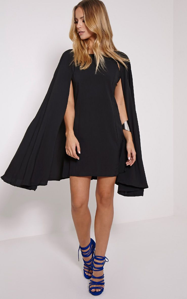 Milana Black Cape Dress 1