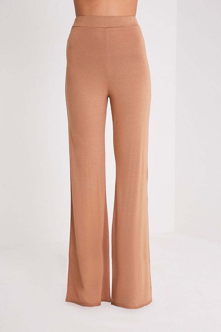 Basic pantalon large en jersey camel 2