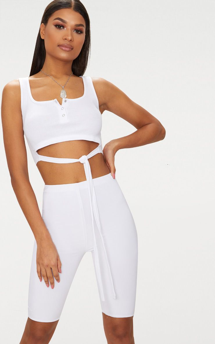White Rib Tie Waist Popper Front Crop Top