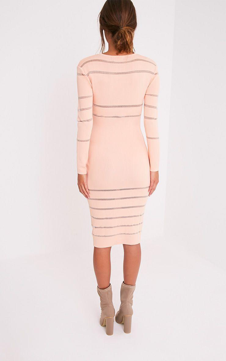 Serene robe midi tricotée à empiècements en tulle couleur chair 2