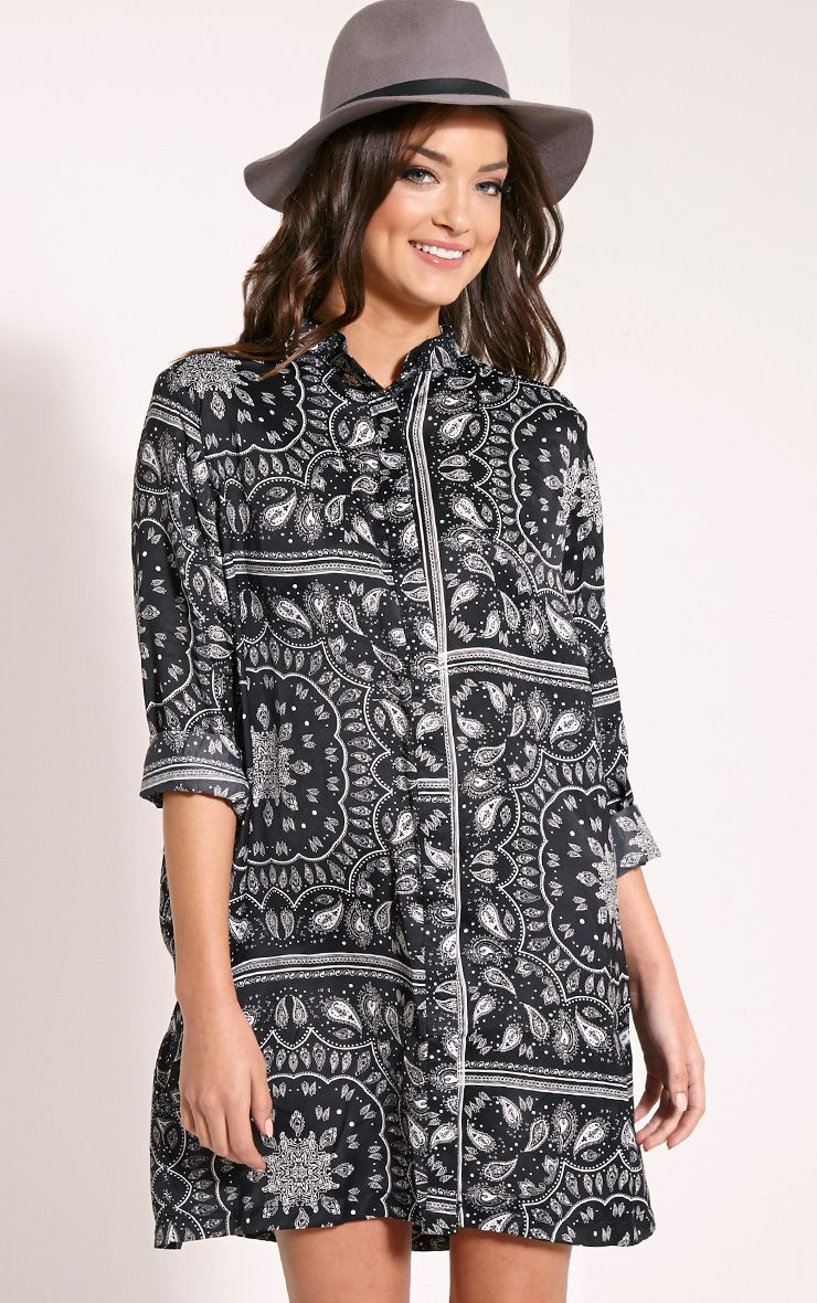 Meilee Black Paisley Print Collarless Shirt Dress 1