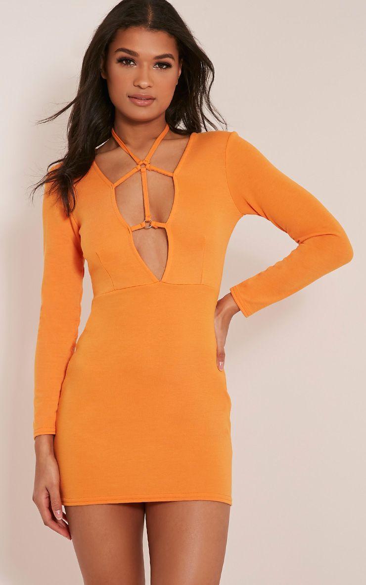 Rudi Bright Orange Harness Bodycon Dress 1