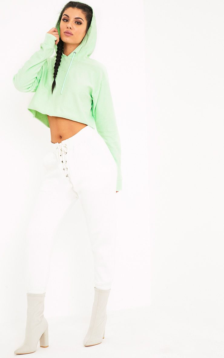 Charissa Pastel Green Inside Out Cropped Hoodie