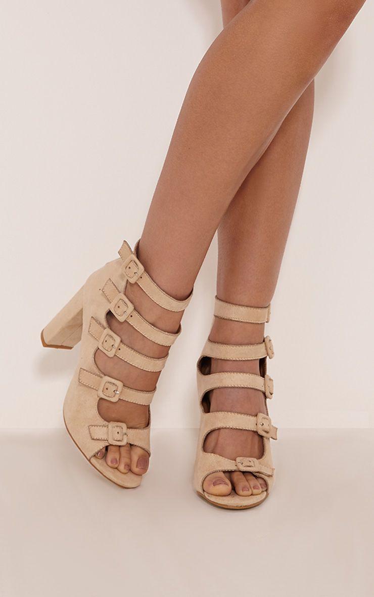 Lealla Cream Faux Suede Multi Strap Sandals