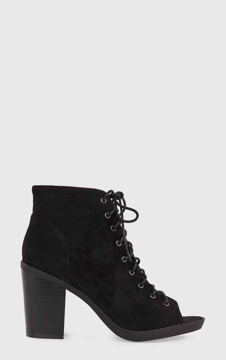 Valento Black Faux Suede Lace Up Peep Toe Ankle Boots