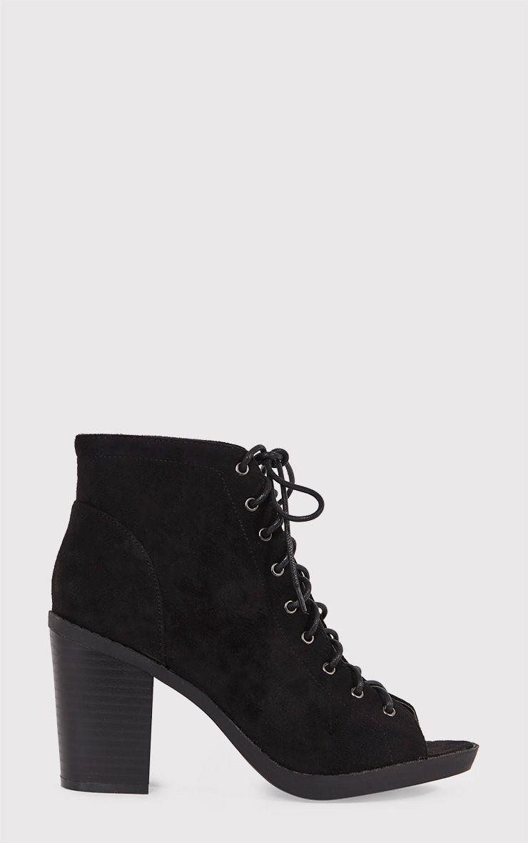 Valento Black Faux Suede Lace Up Peep Toe Ankle Boots 1