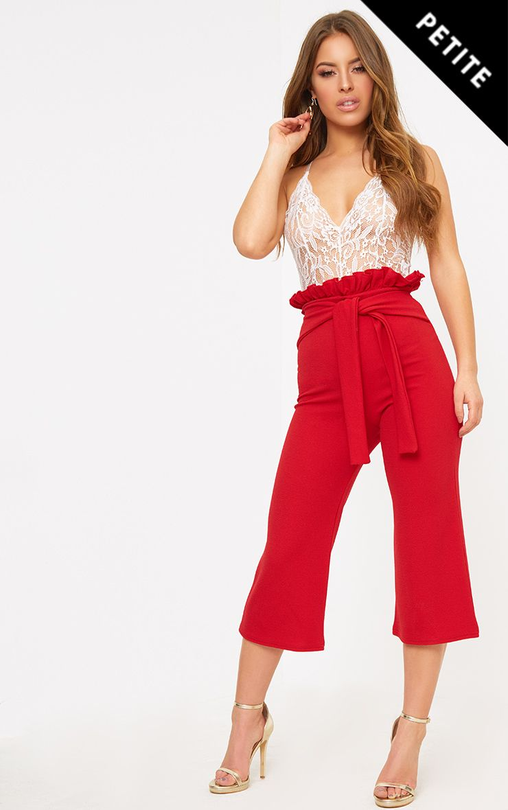 Petite Red Paperbag Waist Culottes