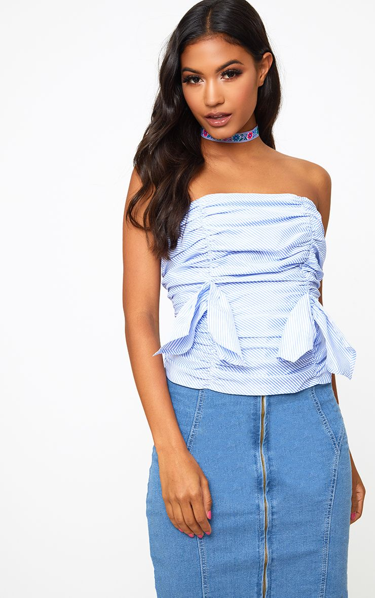 Blue Stripe Ruched Frill Bandeau Lace Up Back Shirt