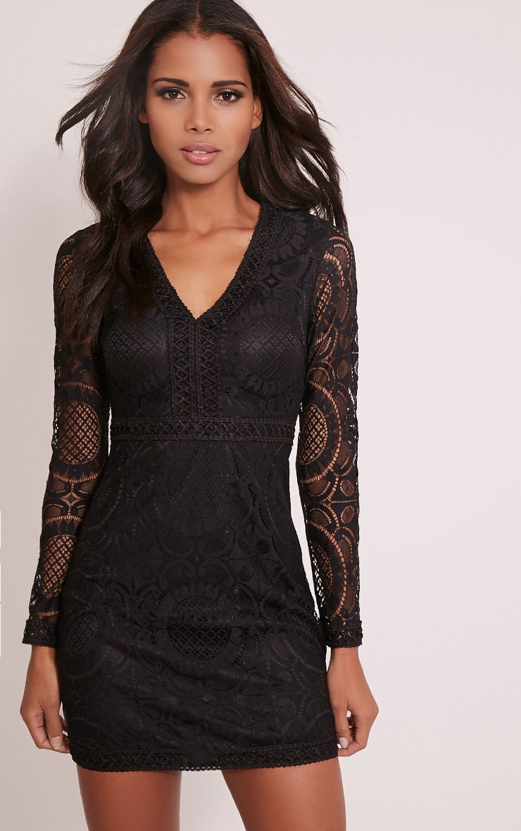 Vanessa Black Lace Panel Bodycon Dress 1