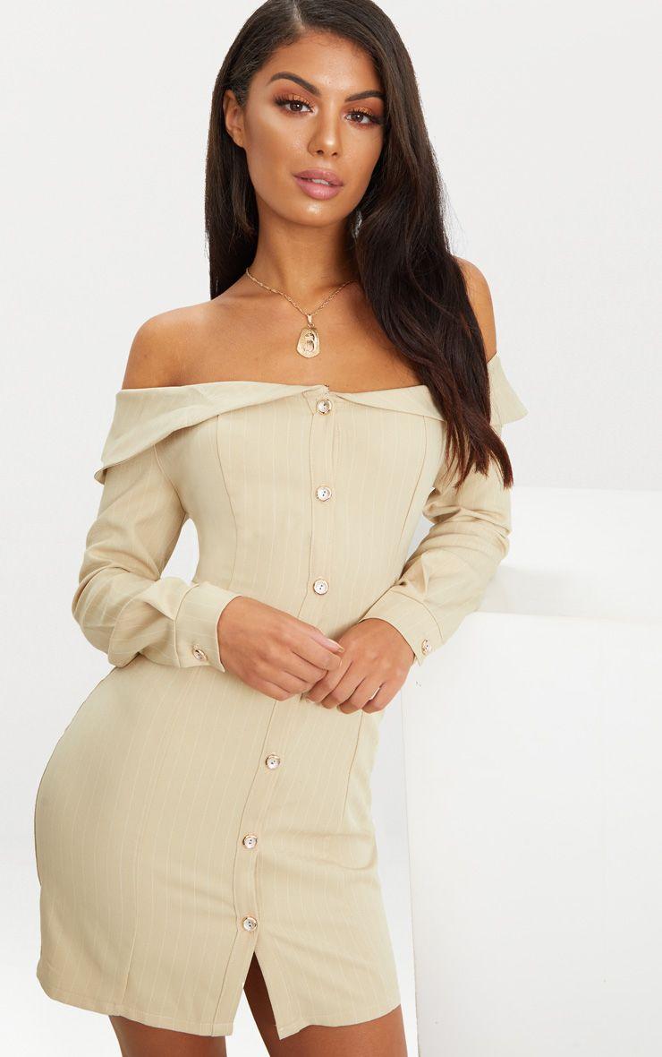 Stone Striped Bardot Button Detail Bodycon Dress