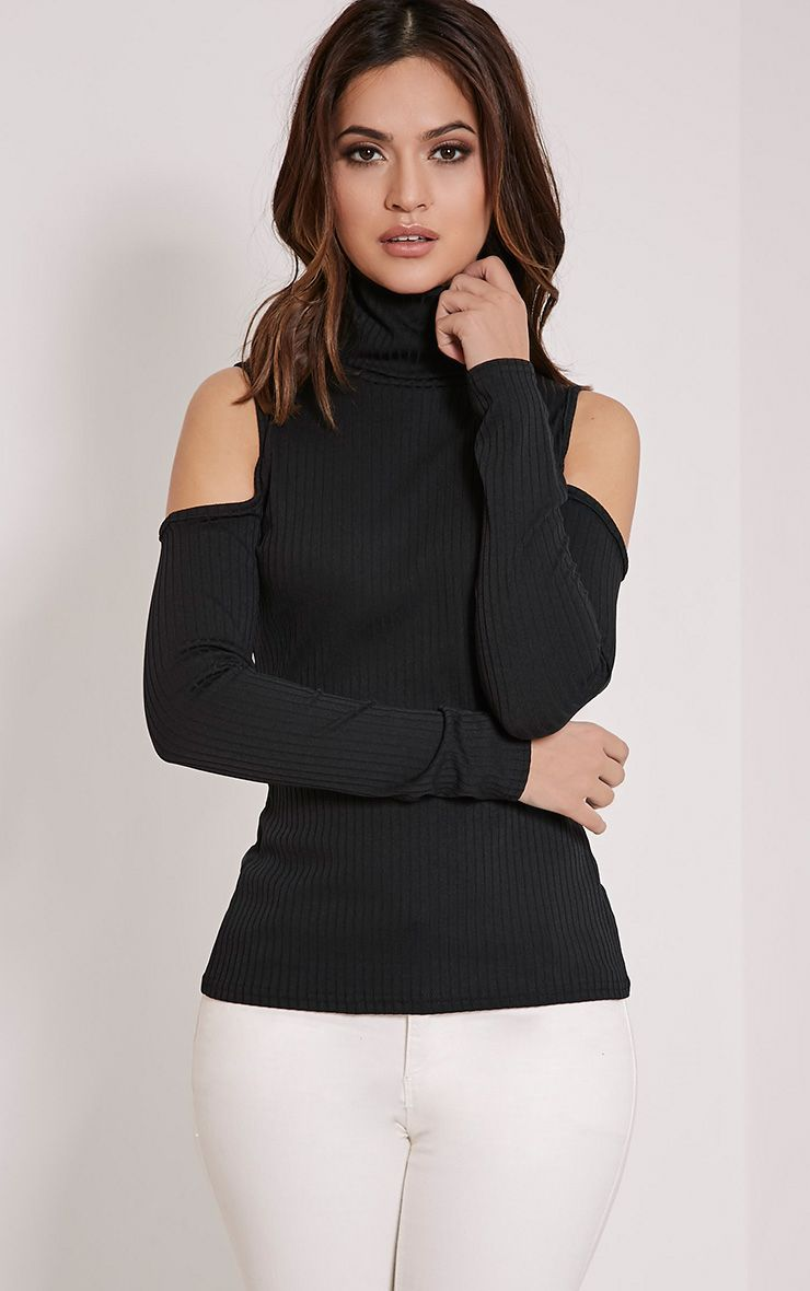 Valentina Black Ribbed Cold Shoulder Roll Neck Top