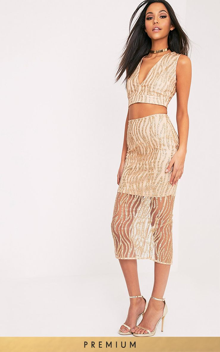 Divina Gold Sparkle Longline Midi Skirt