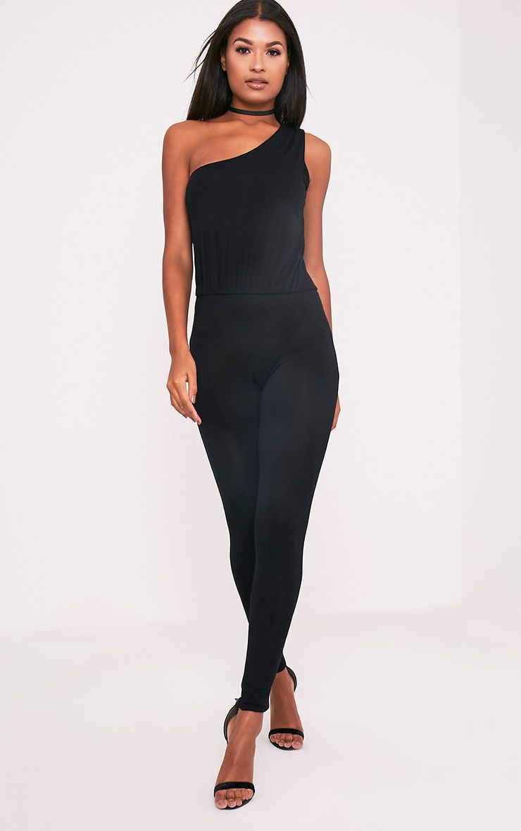 Jess Black One Shoulder Jersey Jumpsuit