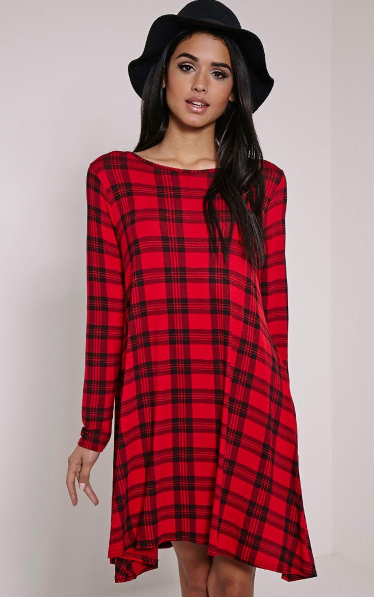 Ivy Red Tartan Long Sleeve Swing Dress 1