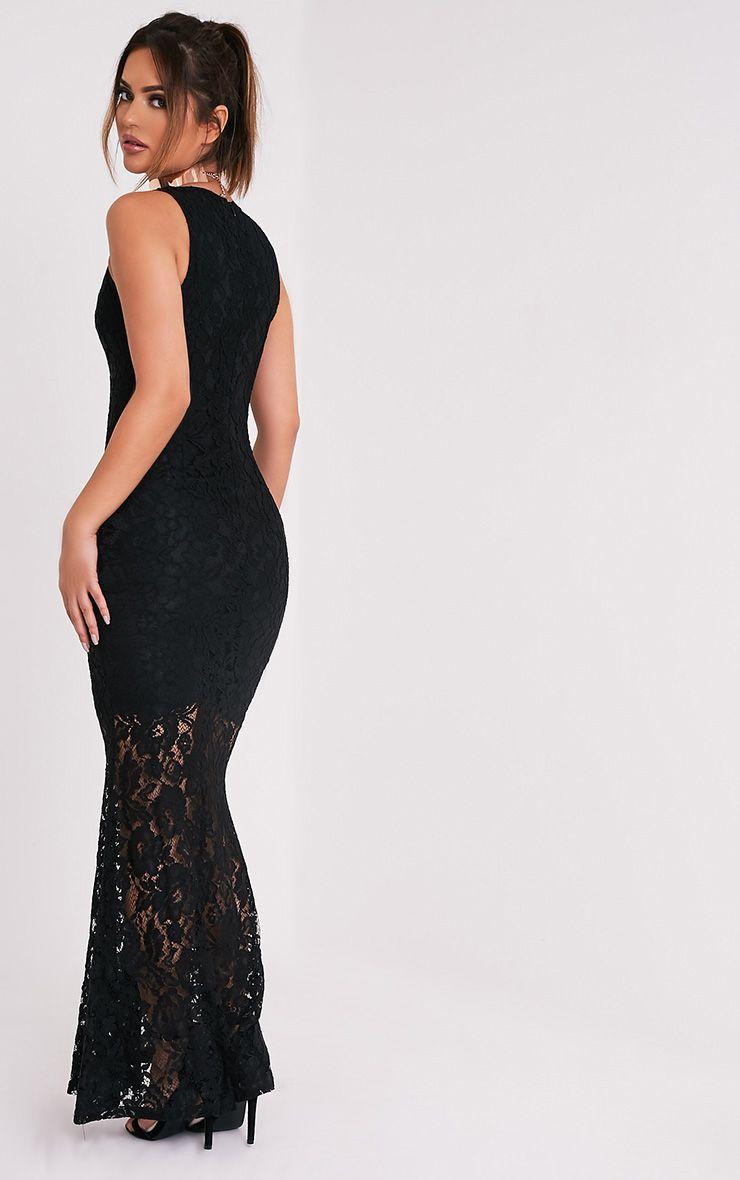 Tarra robe sirène maxi en dentelle noire 4
