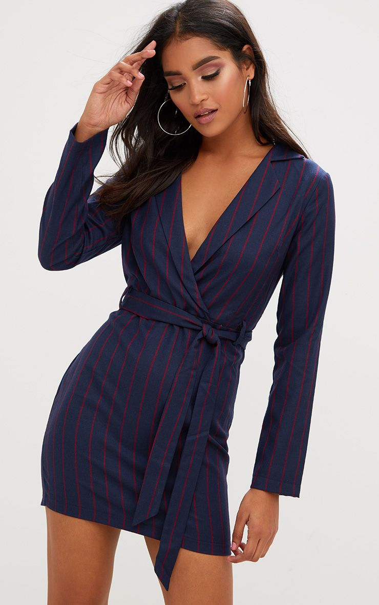 Navy Tie Waist Striped Blazer Dress