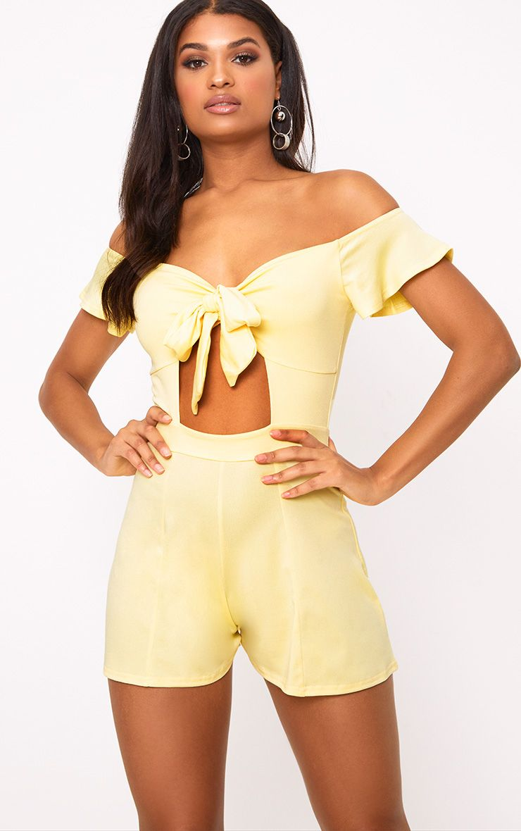 Yellow Bust Bow Playsuit
