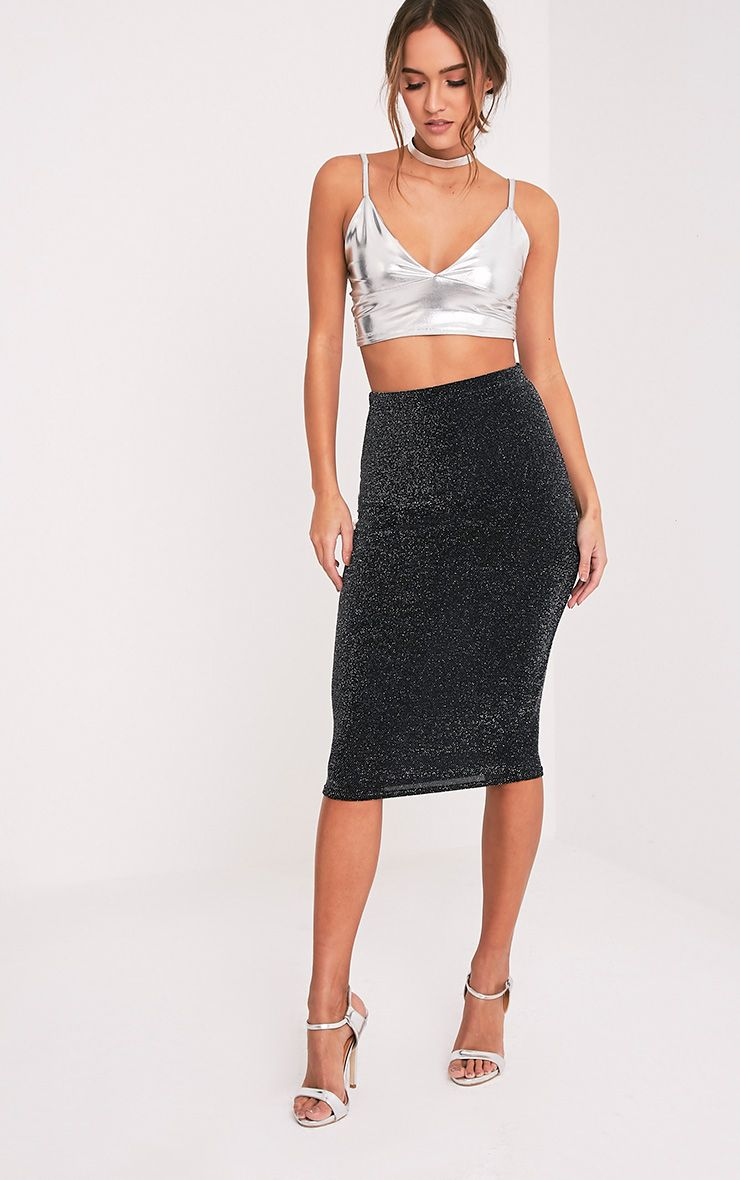 Hazeline Black Sheer Lurex Midi Skirt