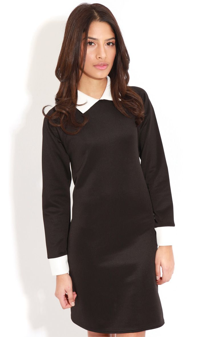 Evelyn Black Long Sleeved Collar Dress 1