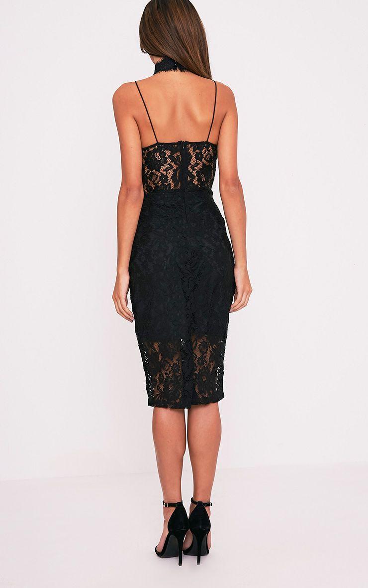 Ciana Black Choker Detail Lace Midi Dress 2