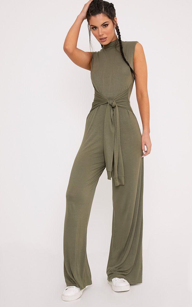 Aila Khaki Knot Front Wide Leg Jumpsuit