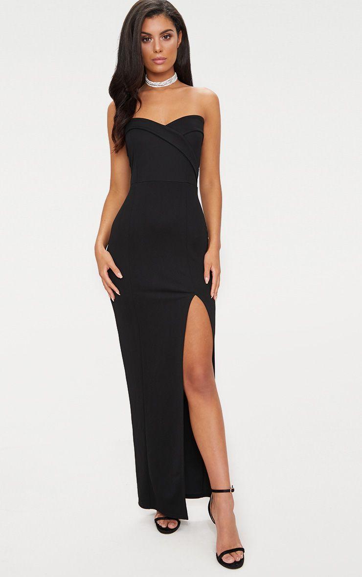Black Bandeau Folded Detail Extreme Split Maxi Dress
