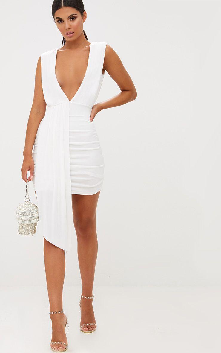 White Plunge Neckline Drape Detail Bodycon Dress 1
