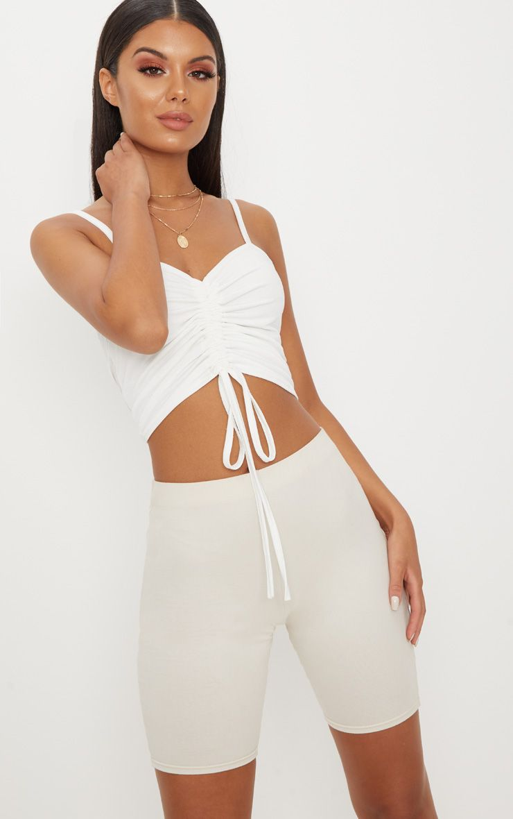 White Ruched Front Strappy Crop Top