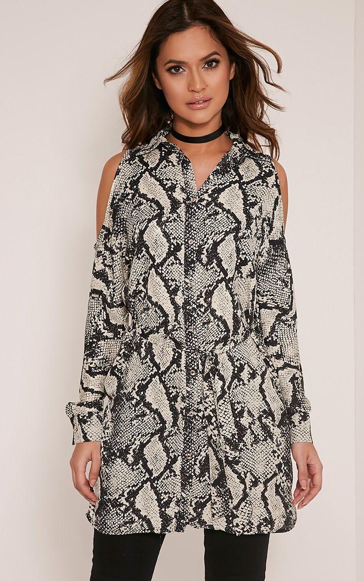 Ciara Taupe Cold Shoulder Snake Print Shirt 1