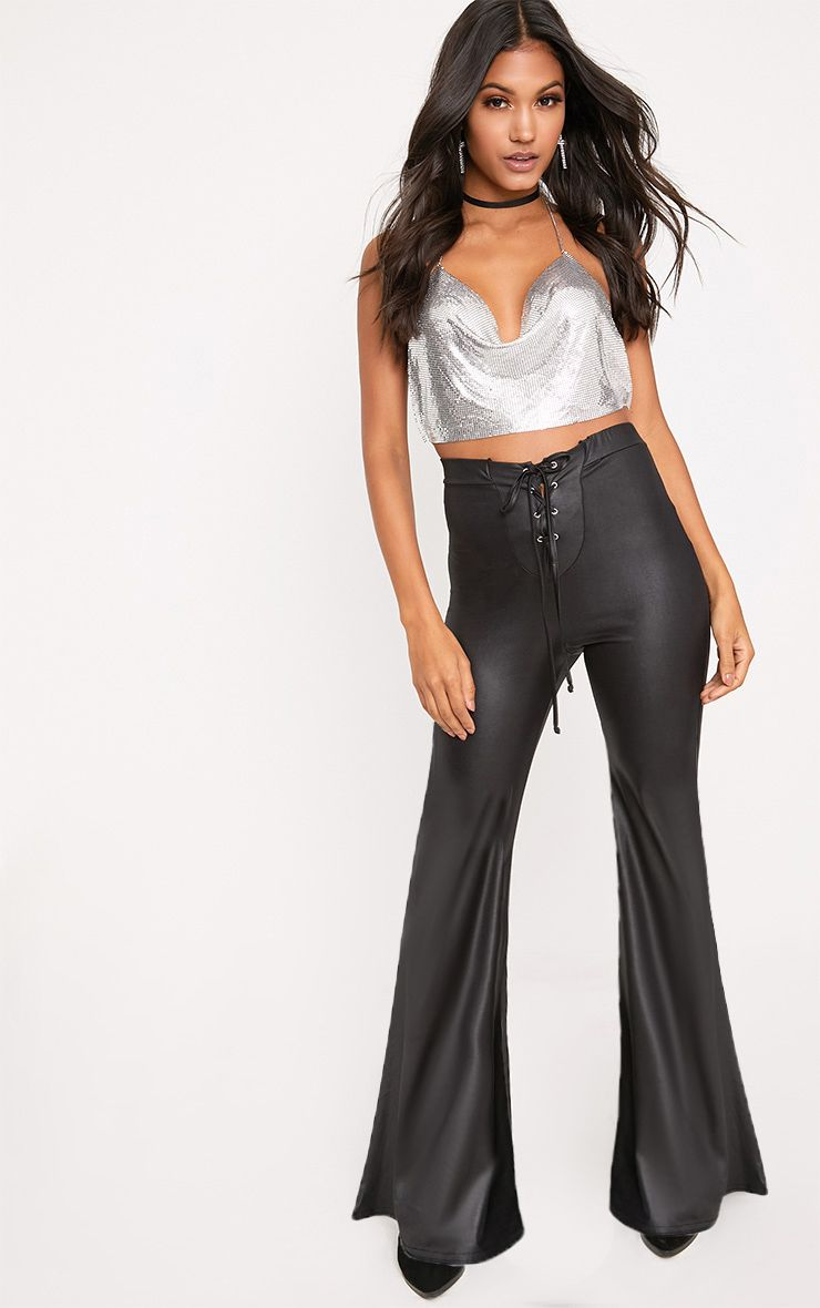 Black PU Lace Up Flared Trousers