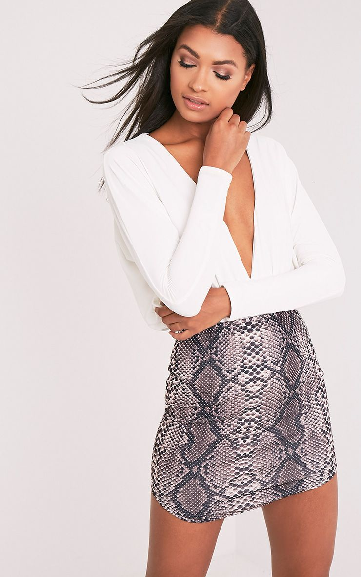 Angelia Brown Curve Hem Snake Print Mini Skirt