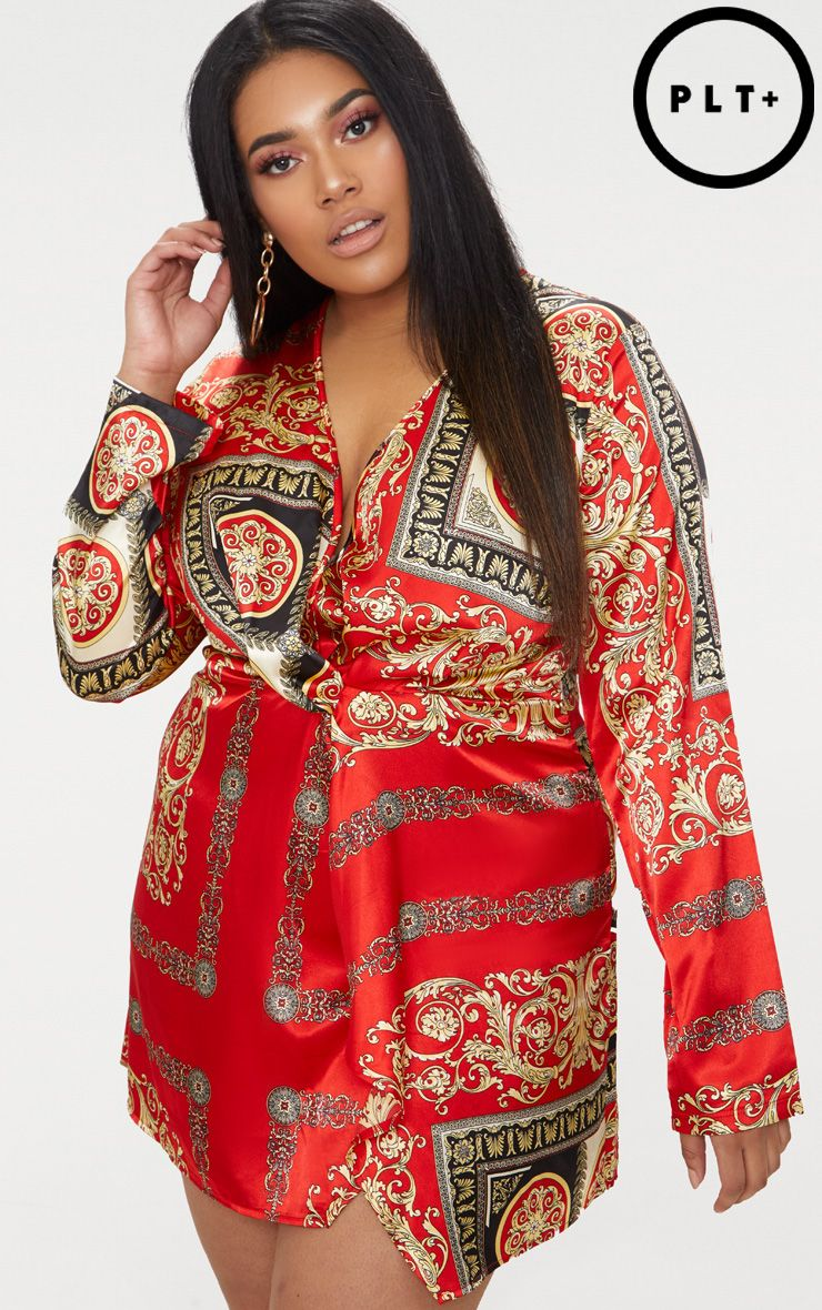Plus Red Printed Satin Long Sleeve Wrap Dress Pretty Little Thing Buy Online Cheap Buy Cheap Store Buy Cheap Best Prices Ebay Cheap Online View Online LNY2hvG54y