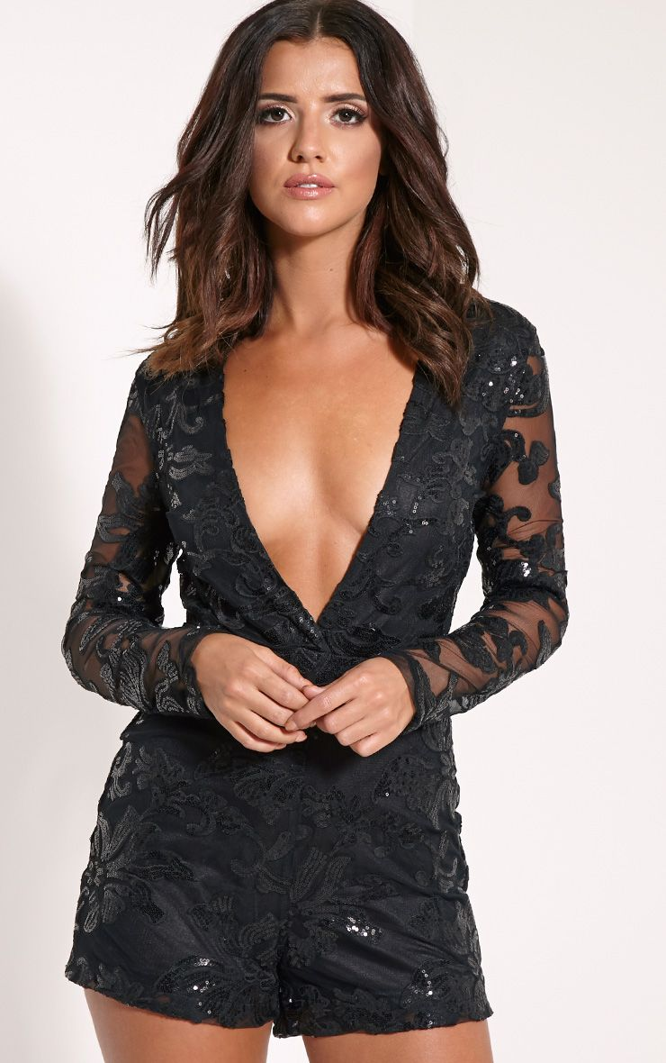 Fernanda Black Lace Deep Plunge Playsuit 1