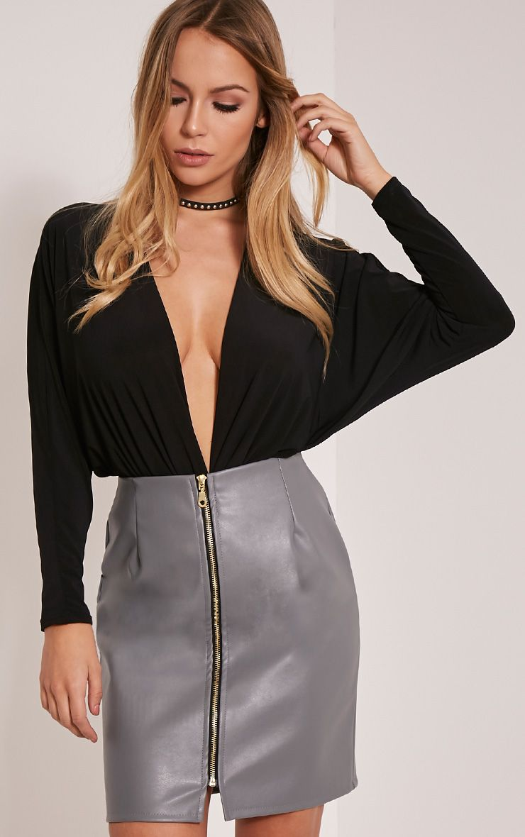 Chandra Grey Faux Leather Zip Front Mini Skirt 1